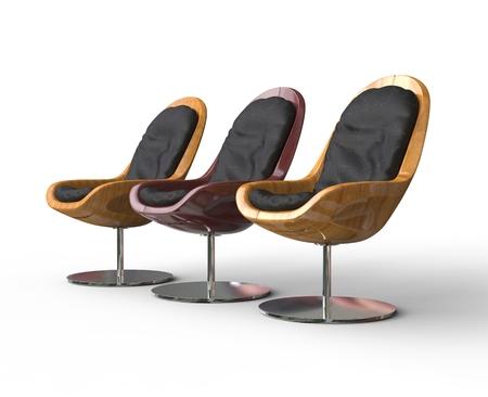 armchairs: Three Wooden Modern Armchairs Stock Photo