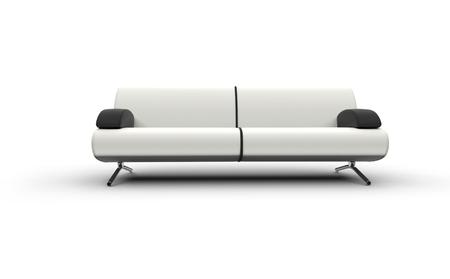 white sofa: White Sofa With Black Armrests
