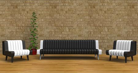 vase plaster: Modern Lounge Room With Vintage Brick Wall