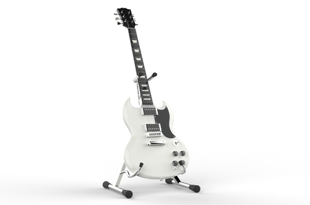 White electric guitar on stand