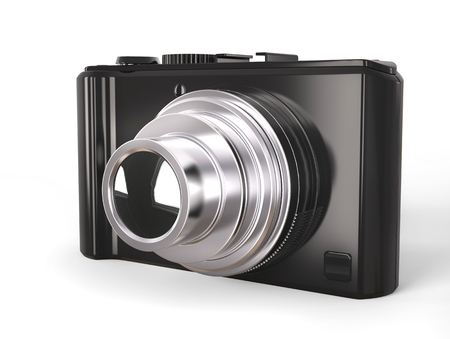 megapixel: Black modern compact digital photo camera with silver lens