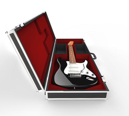 guitar case: Black Electric Guitar In Guitar Case