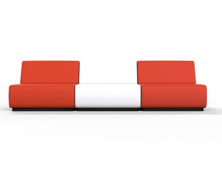 lounge chairs: Modern Red and White Lounge chairs. Stock Photo