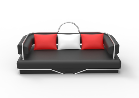 red sofa: Black Sofa With Red And White Pillows