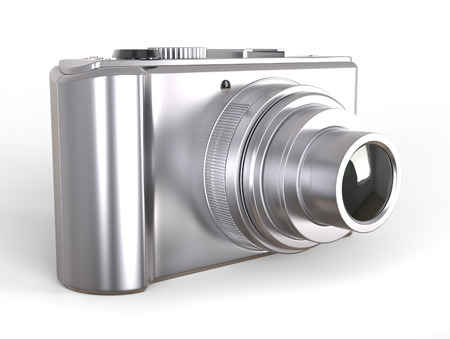 camera  cameras: Silver compact digital photo camera