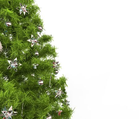 christmas decorations: Christmas Tree - Silver Decorations Stock Photo