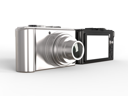 megapixel: Black and silver modern compact digital photo camera Stock Photo