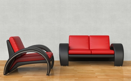 red sofa: Black And Red Armchair and Sofa