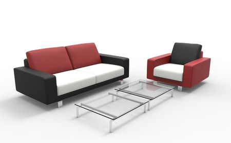 rouge et noir: Red Black And White Sofa With Coffee Table Banque d'images