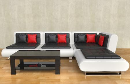 モダンなリビング ルーム - 赤い枕