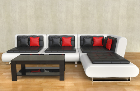 Modern Living Room - Red Pillows Фото со стока