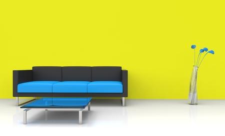 livingroom minimal: Modern Yellow Living Room Stock Photo