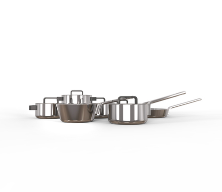 stewing: Set of pots and pans - side view Stock Photo