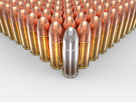 casings: Silver bullet stands out Stock Photo