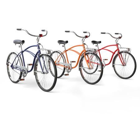 3 つの美しいヴィンテージ自転車 写真素材