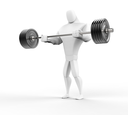 powerfully: Strong 3D Character Weightlifting - lower view. Stock Photo