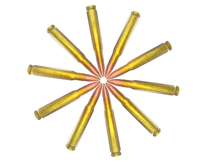 45 caliber: Circle of rifle bullets