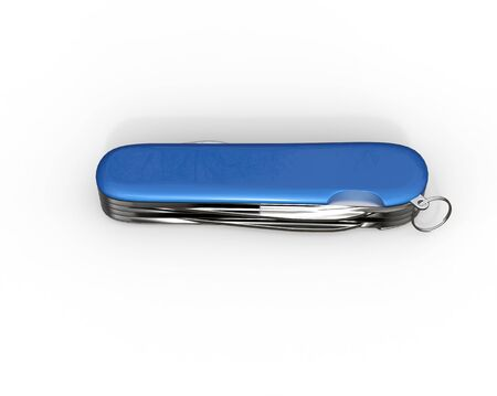 toolset: Blue swiss army knife on white background, ideal for digital and print design. Stock Photo
