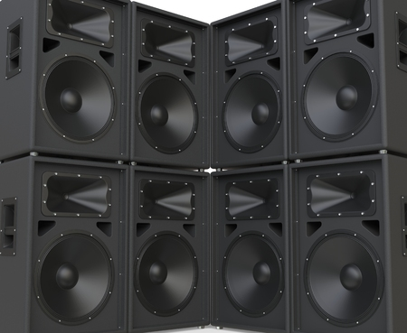 facing each other: Wall of huge speakers facing each other. Stock Photo