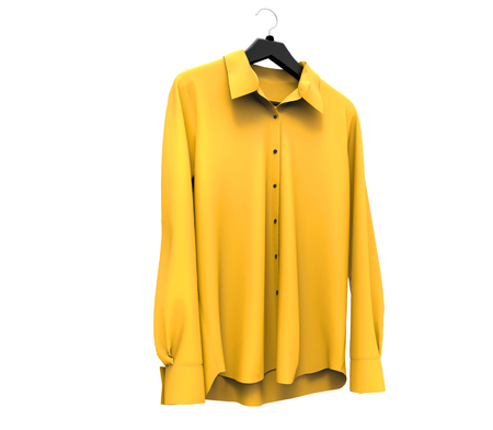 long sleeve shirt: Yellow long sleeve shirt isolated on white background.