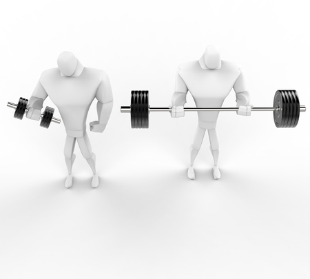 powerfully: Illustration of 3D Strong men weightlifting.