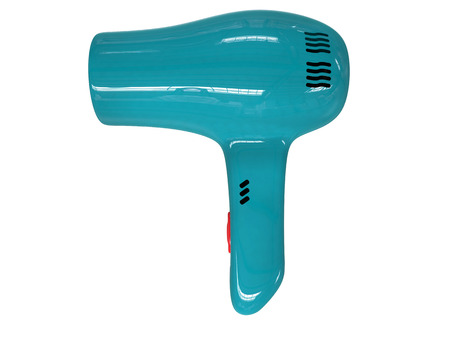 blow drier: Compact teal hairdryer isolated on white background