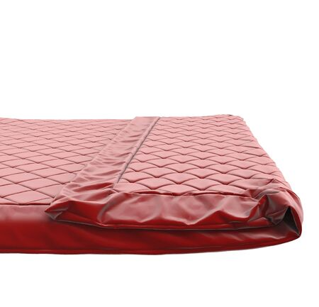 bedsheets: Red bed cover, isolated on white background.