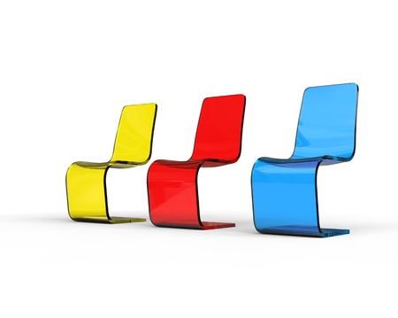 Futuristic yellow, red and blue plastic chairs on white.