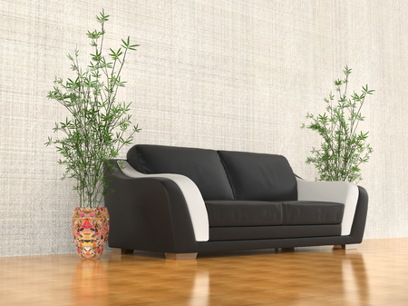angled view: Black and white sofa - angled view