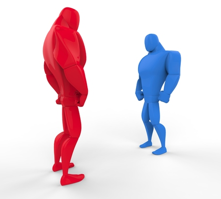 perpective: Red and blue 3D Strongmen in a stand off - perpective view. Stock Photo