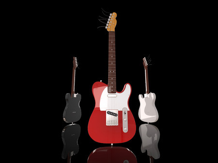 riff: Electric guitars on reflective ground Stock Photo