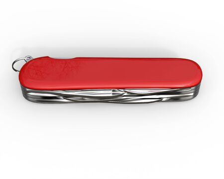toolset: Red swiss army knife closed - top view, on white background, ideal for digital and print design.