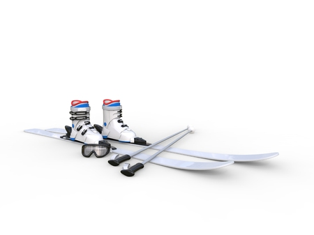 digital design: Skis with ski boots on white background, ideal for digital and print design. Stock Photo
