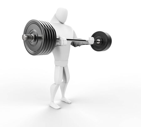 powerfully: Strong 3D Character Weightlifting - side view.