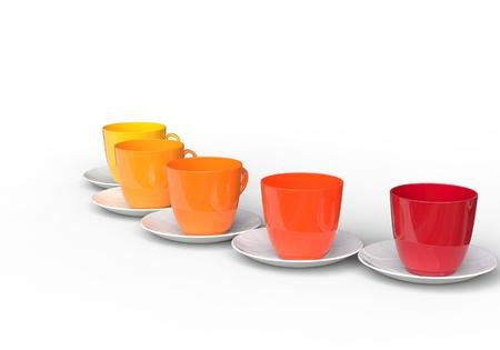 warm colors: Las tazas de café - Colores cálidos Foto de archivo