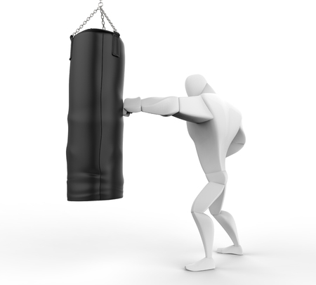 young male model: 3D Boxer Training on black punching bag Stock Photo