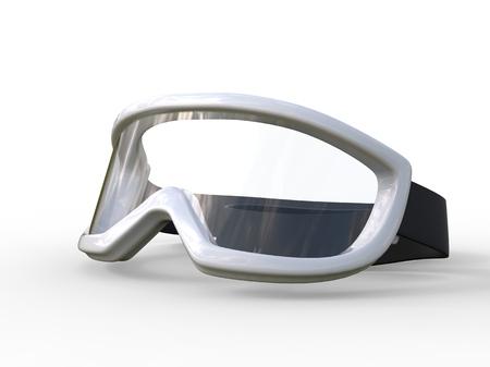 rimmed: White rimmed ski goggles on white background, ideal for digital and print design. Stock Photo