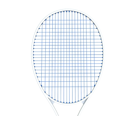 racquet: White tennis racquet with blue strings isolated on white Stock Photo