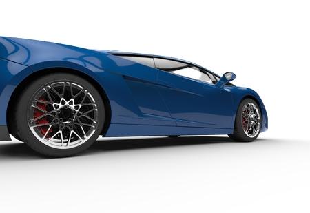 supercar: Dark Blue Supercar Side View