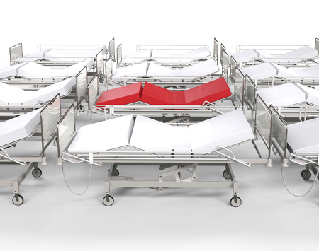 ambulatory: Row of hospital white beds - red stands out Stock Photo