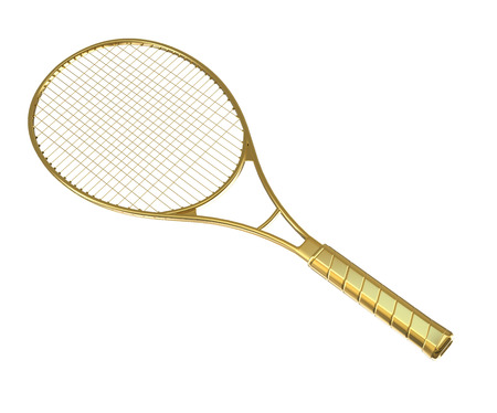 Gold tennis racquet isolated on white
