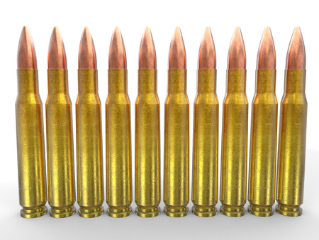 45 caliber: Rifle ammo bullets Stock Photo