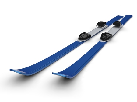 Blue skis on white background, ideal for digital and print design.
