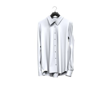 long sleeve shirt: White long sleeve shirt front view.