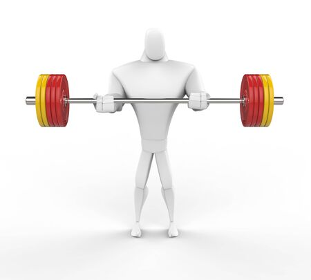 powerfully: 3D Strong Character lifting heavy weights.