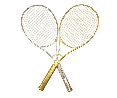 Gold and silver tennis rackquets crossed.