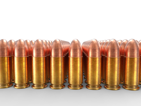 45 caliber: Rows of small caliber bullets Stock Photo