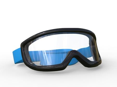black rimmed: Black rimmed ski goggles on white background, ideal for digital and print design.