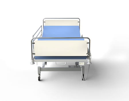 Hospital bed with blue bedding - front up view