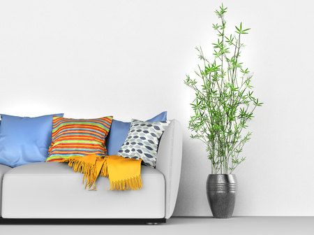 Detail of the modern living room - sofa and house plant